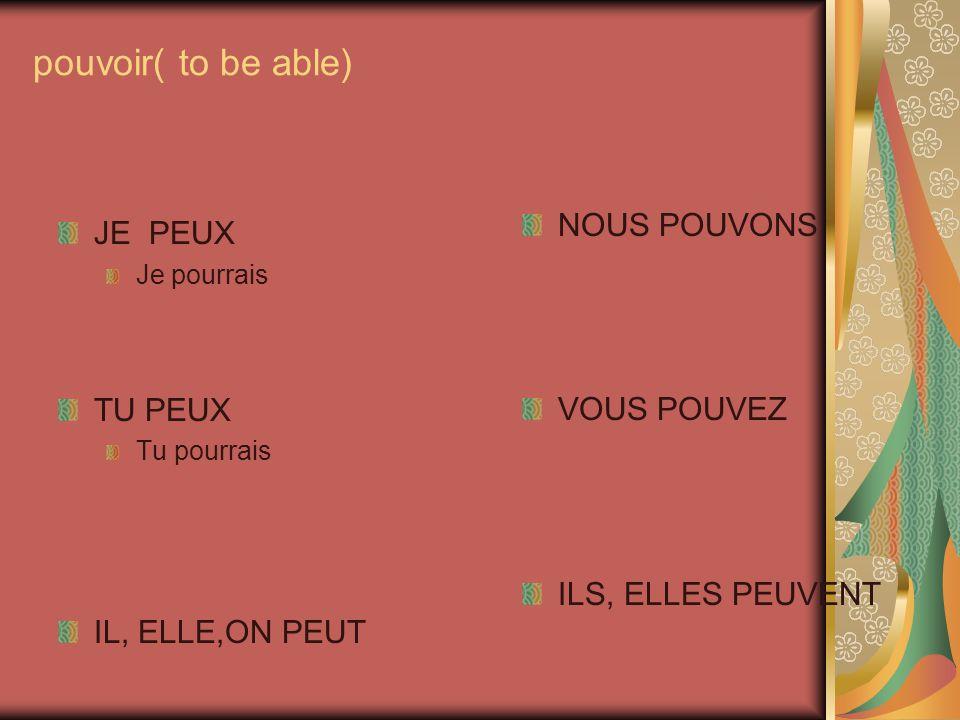 pouvoir( to be able) NOUS POUVONS JE PEUX VOUS POUVEZ TU PEUX
