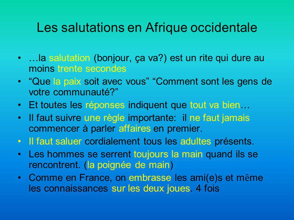 Les salutations en Afrique occidentale