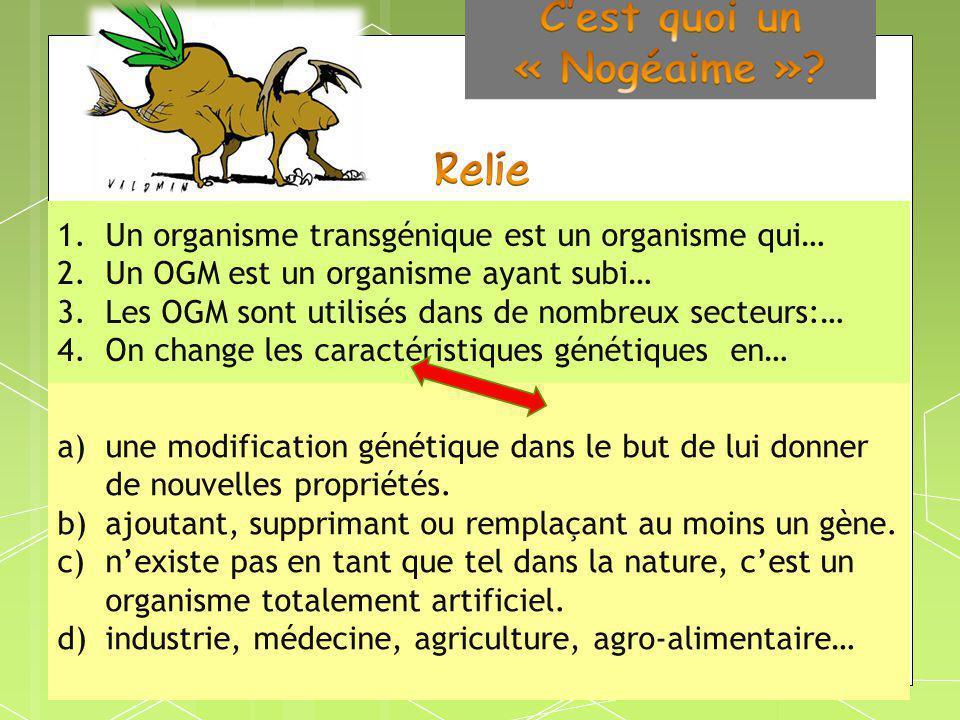 Un organisme transgénique est un organisme qui…