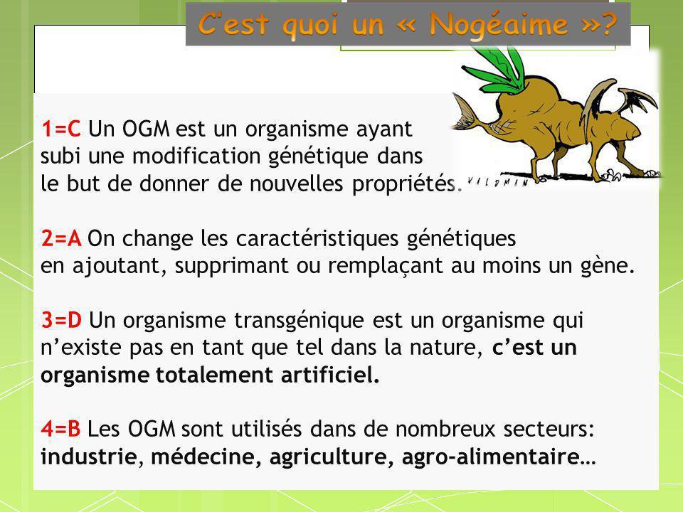 1=C Un OGM est un organisme ayant subi une modification génétique dans le but de donner de nouvelles propriétés.