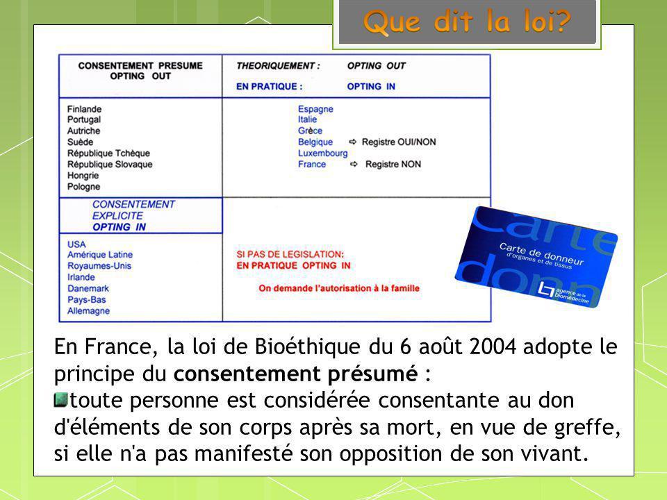 En France, la loi de Bioéthique du 6 août 2004 adopte le principe du consentement présumé :