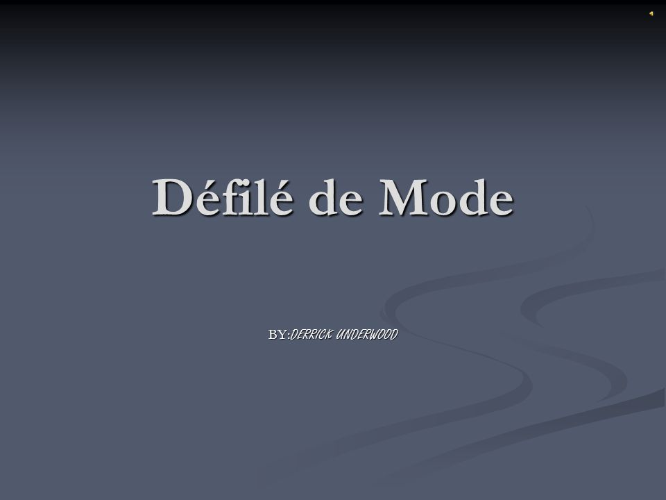 Défilé de Mode BY:DERRICK UNDERWOOD