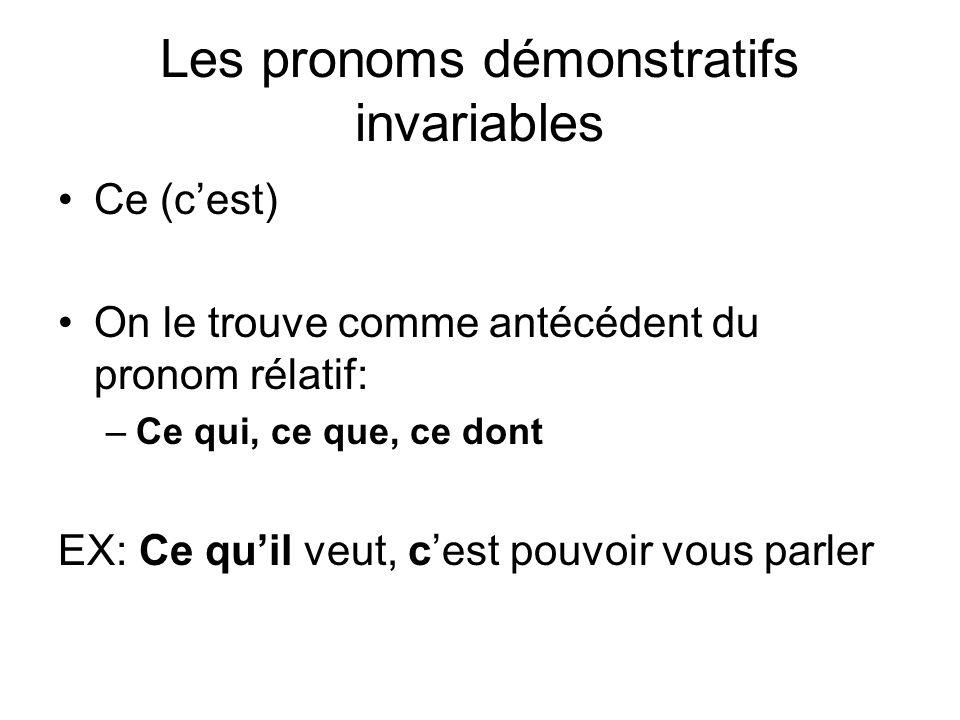 Les pronoms démonstratifs invariables