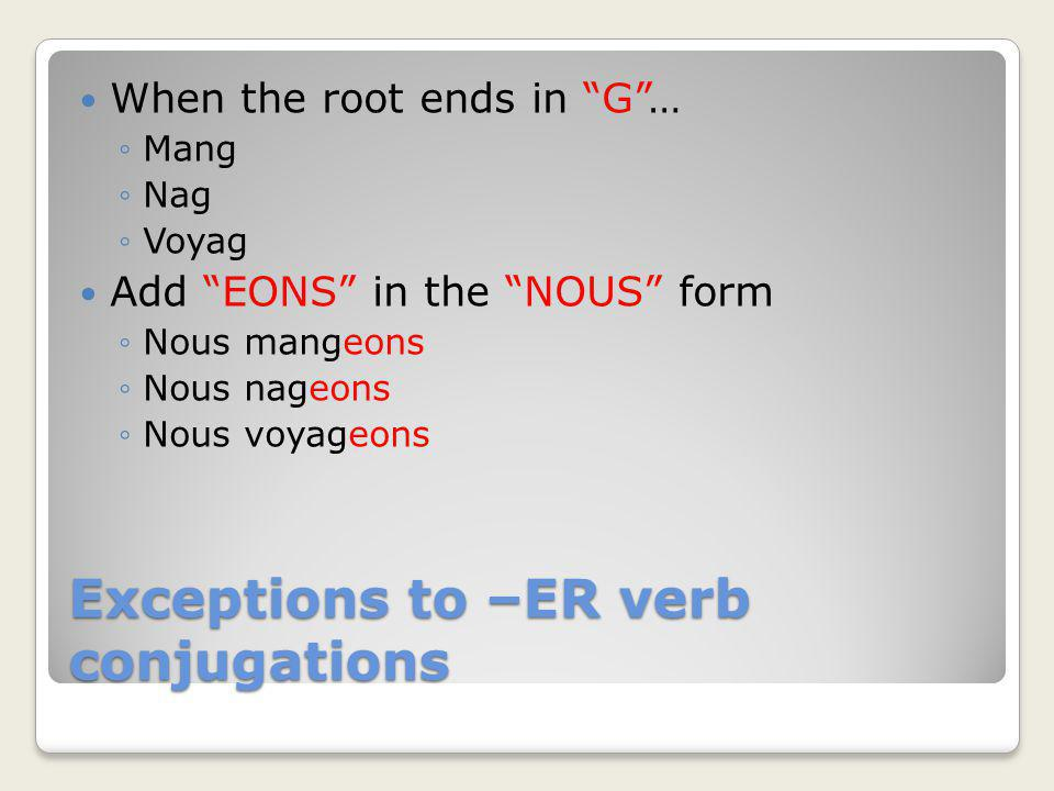 Exceptions to –ER verb conjugations