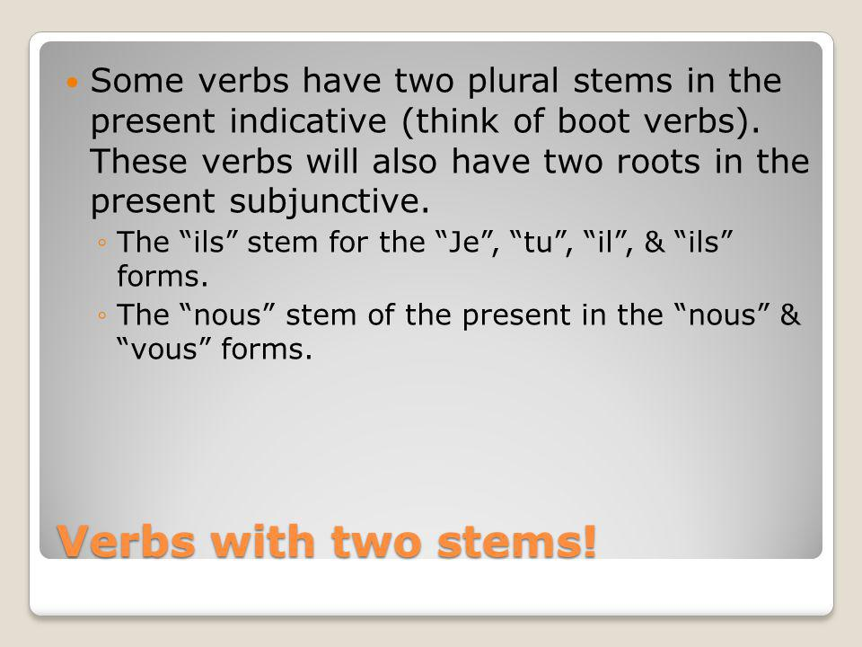 Some verbs have two plural stems in the present indicative (think of boot verbs). These verbs will also have two roots in the present subjunctive.