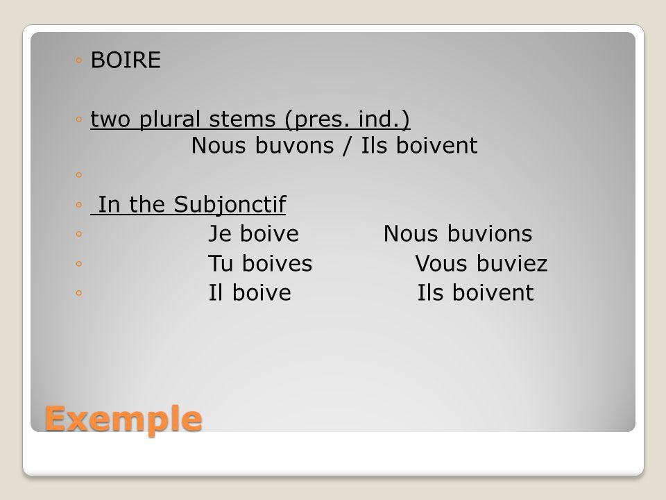 Exemple BOIRE two plural stems (pres. ind.) Nous buvons / Ils boivent