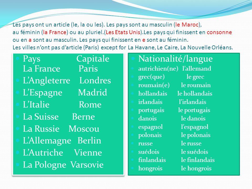 les pays  les capitales et les nationalit u00e9s