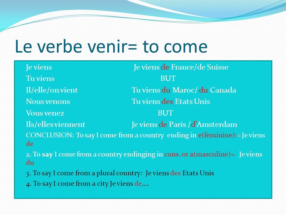 Le verbe venir= to come Je viens Je viens de France/de Suisse
