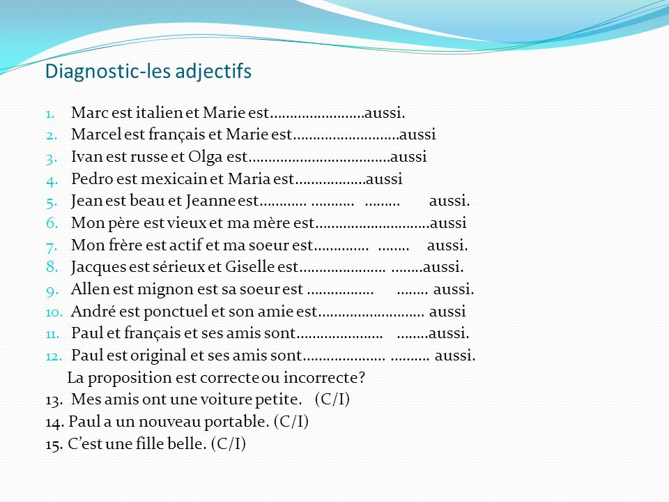 Diagnostic-les adjectifs