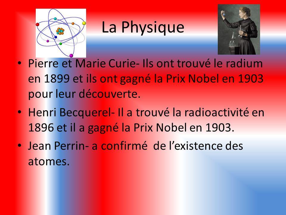 La Physique Pierre et Marie Curie- Ils ont trouvé le radium en 1899 et ils ont gagné la Prix Nobel en 1903 pour leur découverte.