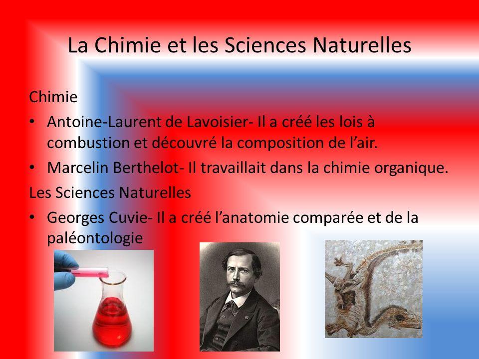 La Chimie et les Sciences Naturelles