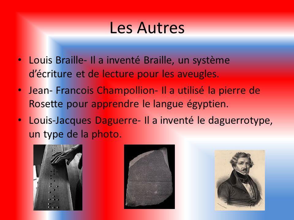 Les Autres Louis Braille- Il a inventé Braille, un système d'écriture et de lecture pour les aveugles.