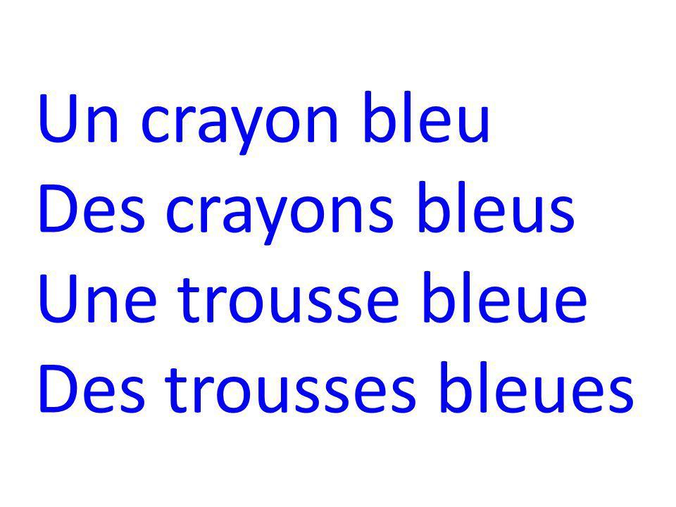 Un crayon bleu Des crayons bleus Une trousse bleue Des trousses bleues