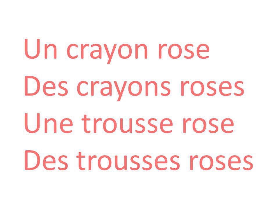 Un crayon rose Des crayons roses Une trousse rose Des trousses roses