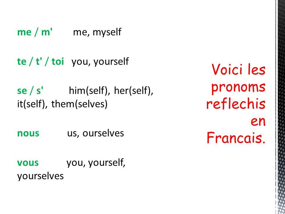 Voici les pronoms reflechis en Francais.