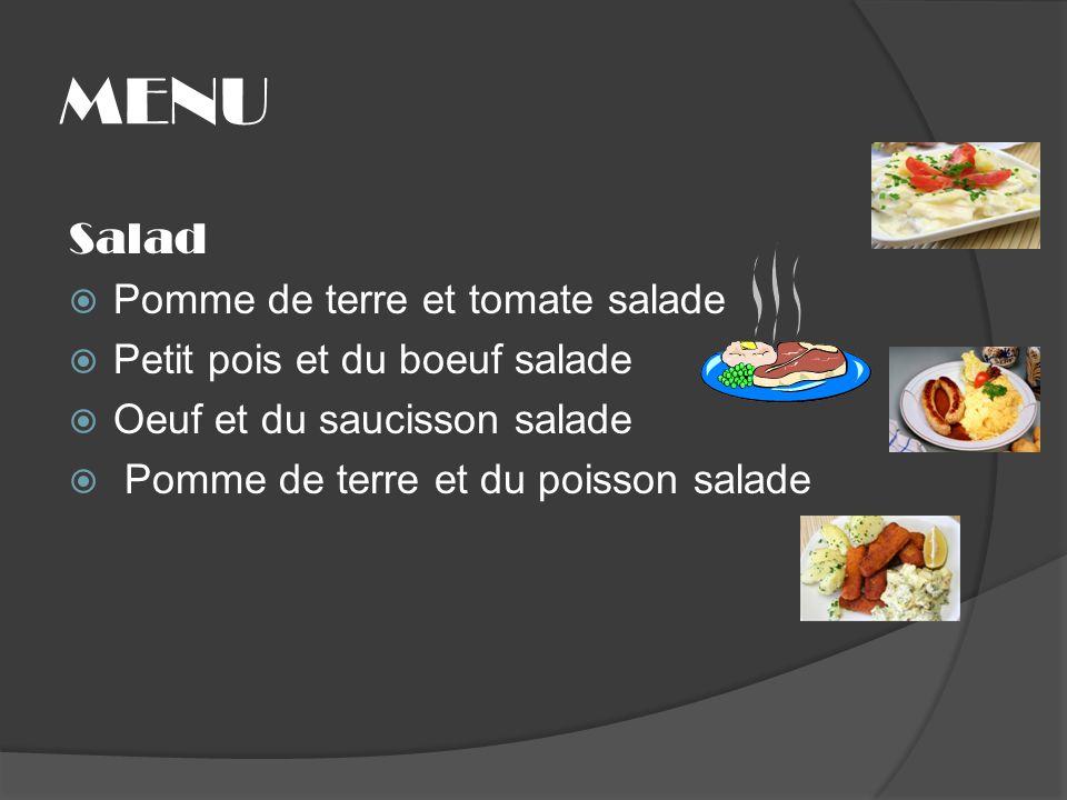 MENU Salad Pomme de terre et tomate salade