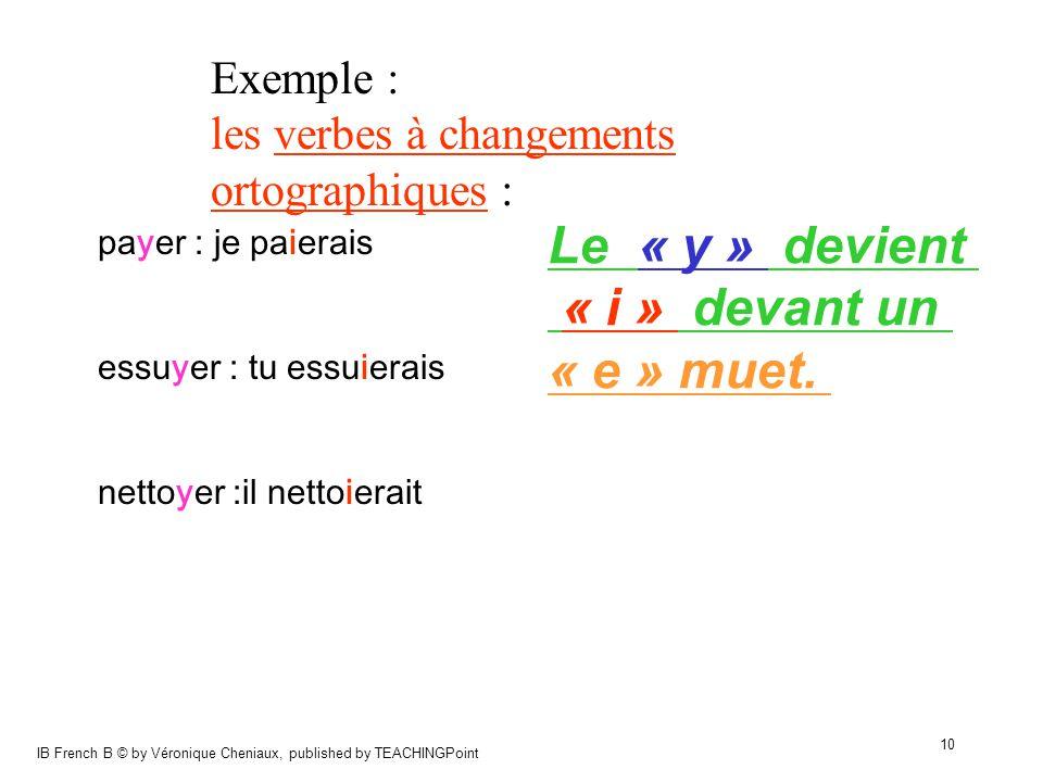 Le « y » devient « i » devant un « e » muet. Exemple :