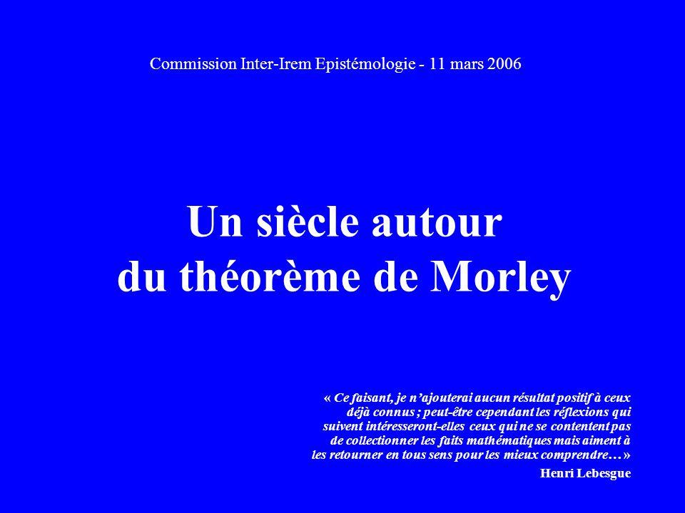 Un siècle autour du théorème de Morley