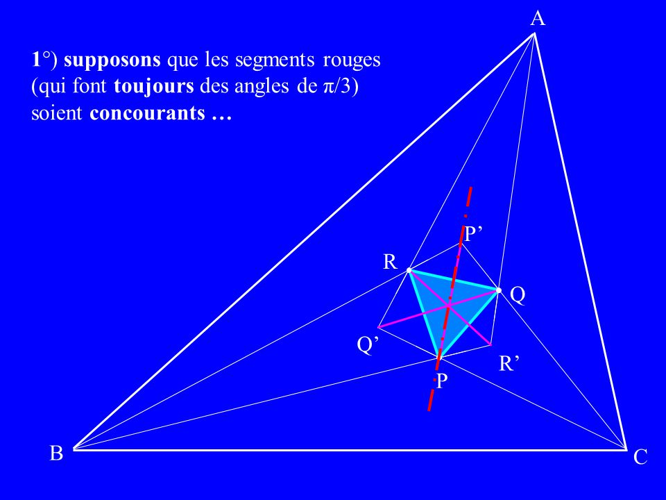 A 1°) supposons que les segments rouges. (qui font toujours des angles de π/3) soient concourants …