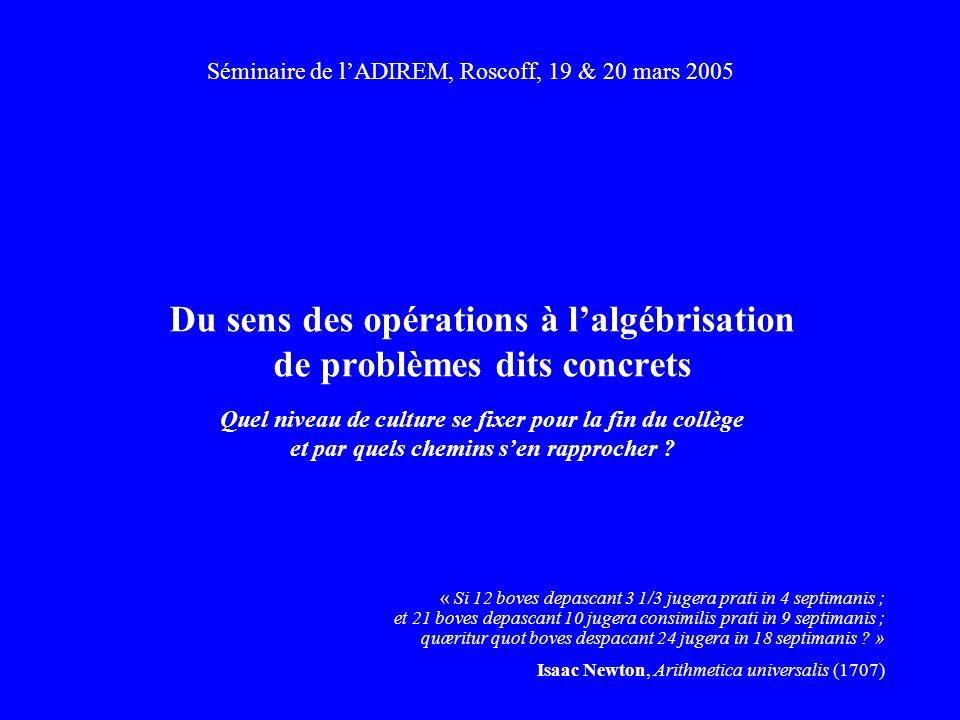 Séminaire de l'ADIREM, Roscoff, 19 & 20 mars 2005