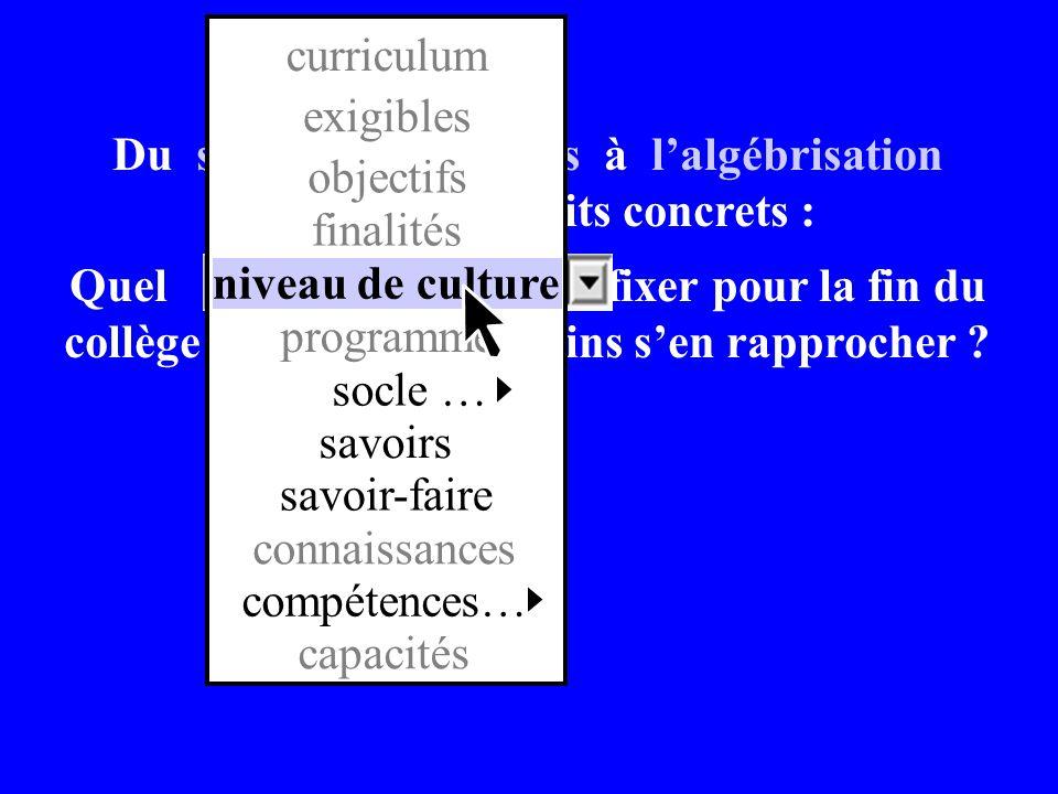 programme socle … savoirs. savoir-faire. connaissances. compétences… capacités. niveau de culture.
