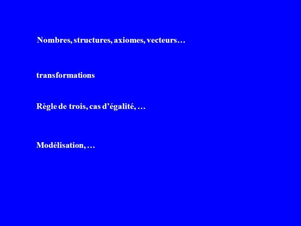 Nombres, structures, axiomes, vecteurs…