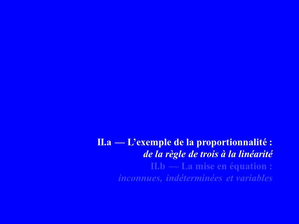 II.a — L'exemple de la proportionnalité :