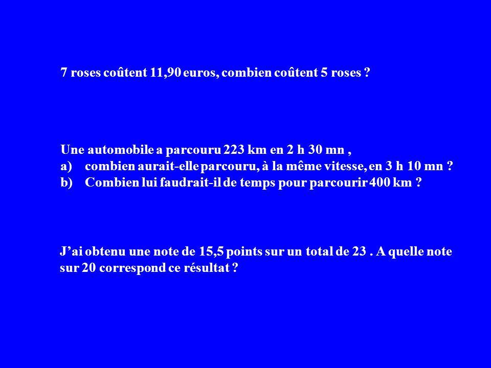 7 roses coûtent 11,90 euros, combien coûtent 5 roses