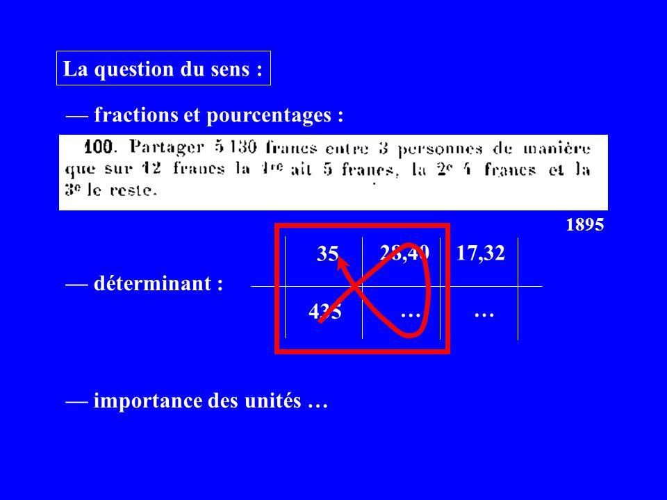 — fractions et pourcentages :