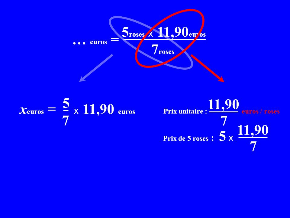 x C = 5roses x 11,90euros x… euros = 7roses xeuros = x 11,90 euros