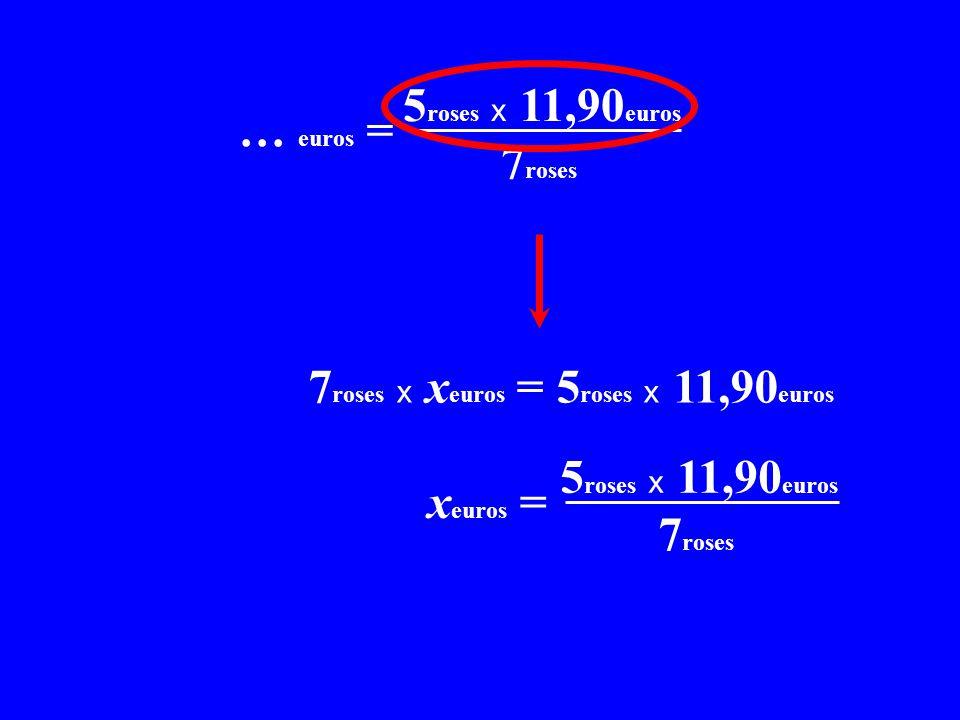 x C = 5roses x 11,90euros x… euros = 7roses. 7roses x xeuros = 5roses x 11,90euros. x C = 5roses x 11,90euros.
