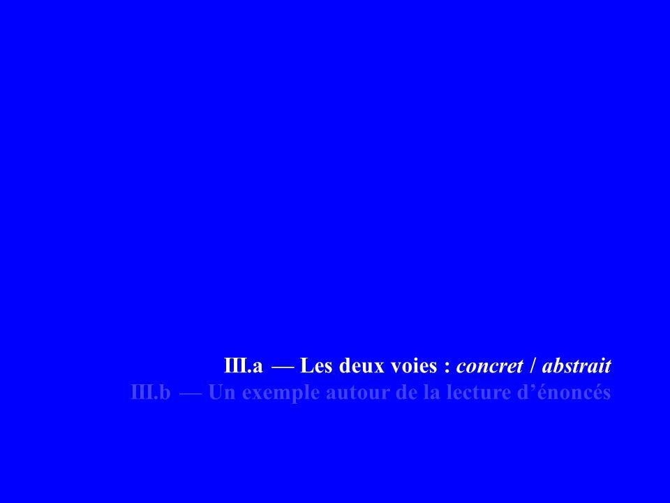 III.a — Les deux voies : concret / abstrait