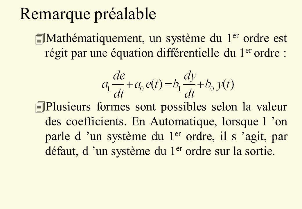 Remarque préalable Mathématiquement, un système du 1er ordre est régit par une équation différentielle du 1er ordre :