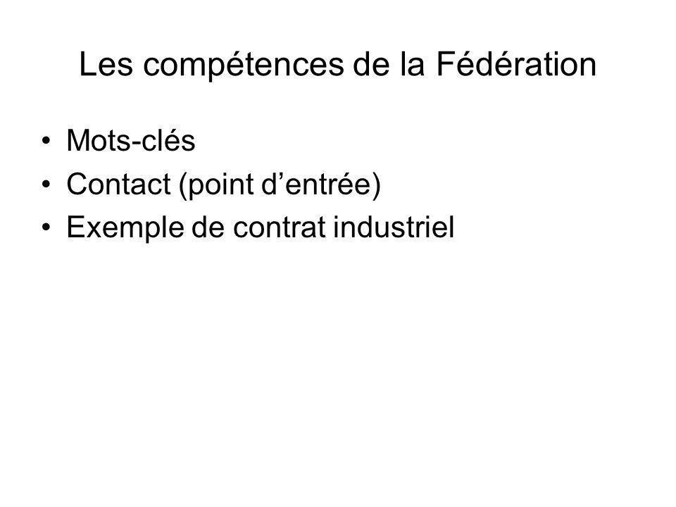 Les compétences de la Fédération