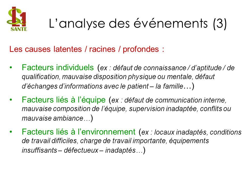 L'analyse des événements (3)
