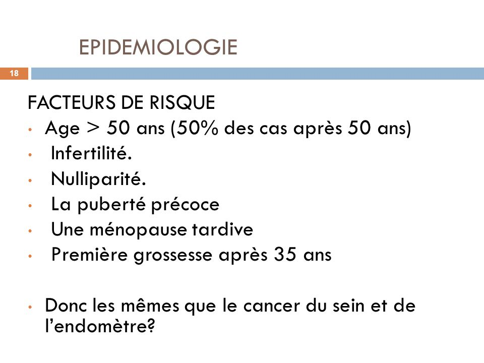 EPIDEMIOLOGIE FACTEURS DE RISQUE