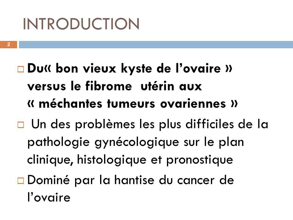 INTRODUCTION Du« bon vieux kyste de l'ovaire » versus le fibrome utérin aux « méchantes tumeurs ovariennes »