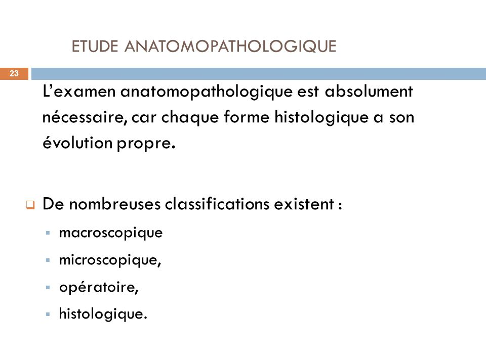 ETUDE ANATOMOPATHOLOGIQUE