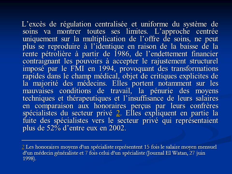 L'excès de régulation centralisée et uniforme du système de soins va montrer toutes ses limites. L'approche centrée uniquement sur la multiplication de l'offre de soins, ne peut plus se reproduire à l'identique en raison de la baisse de la rente pétrolière à partir de 1986, de l'endettement financier contraignant les pouvoirs à accepter le rajustement structurel imposé par le FMI en 1994, provoquant des transformations rapides dans le champ médical, objet de critiques explicites de la majorité des médecins. Elles portent notamment sur les mauvaises conditions de travail, la pénurie des moyens techniques et thérapeutiques et l'insuffisance de leurs salaires en comparaison aux honoraires perçus par leurs confrères spécialistes du secteur privé 2. Elles expliquent en partie la fuite des spécialistes vers le secteur privé qui représentaient plus de 52% d'entre eux en 2002.