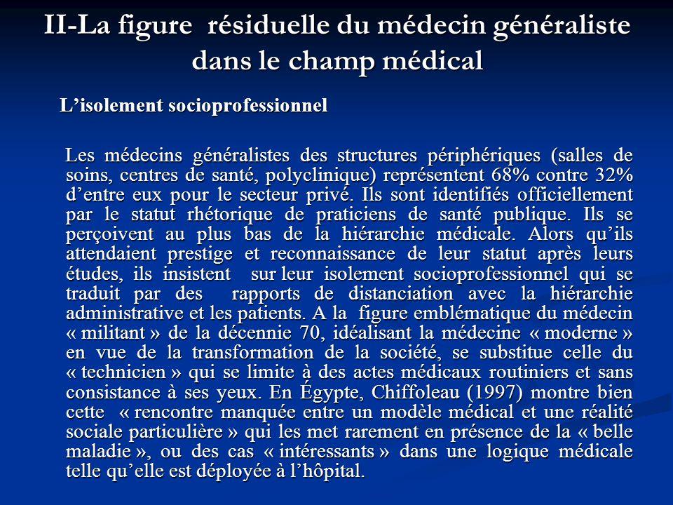 II-La figure résiduelle du médecin généraliste dans le champ médical