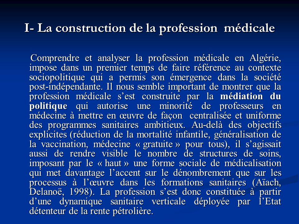 I- La construction de la profession médicale