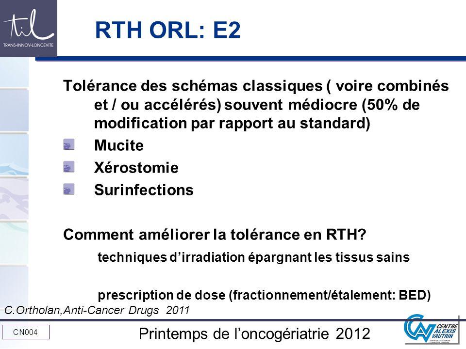 RTH ORL: E2 Tolérance des schémas classiques ( voire combinés et / ou accélérés) souvent médiocre (50% de modification par rapport au standard)
