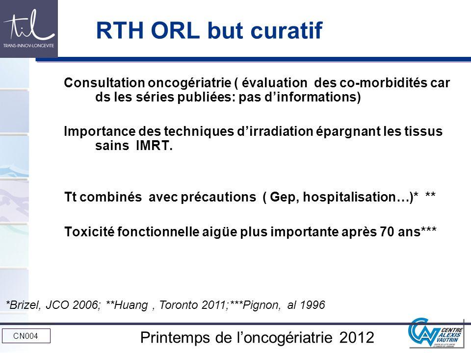 RTH ORL but curatif Consultation oncogériatrie ( évaluation des co-morbidités car ds les séries publiées: pas d'informations)