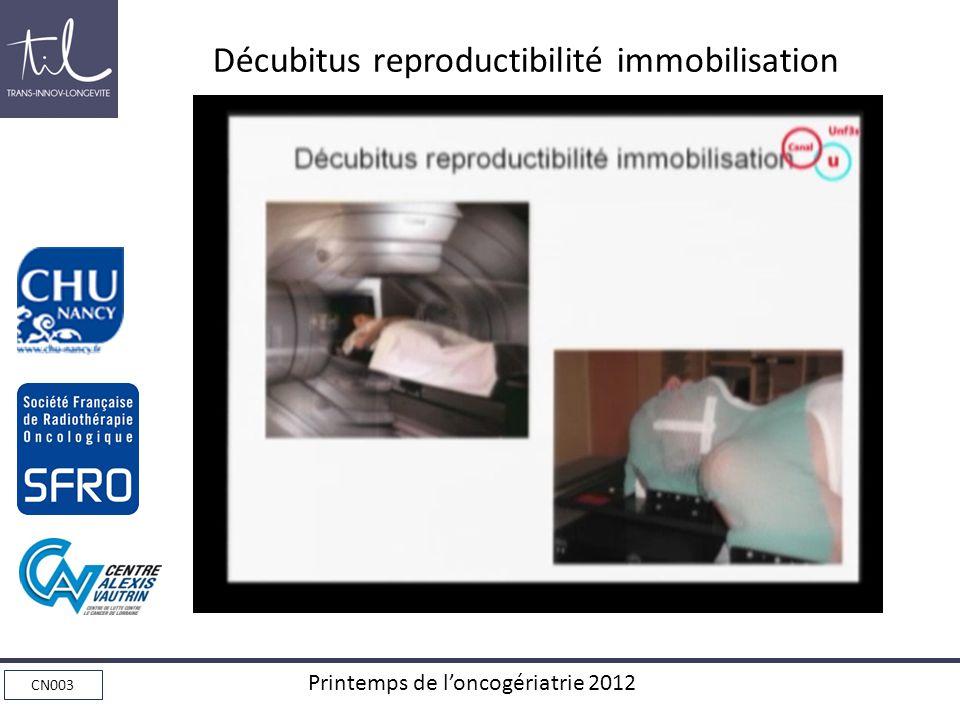 Décubitus reproductibilité immobilisation
