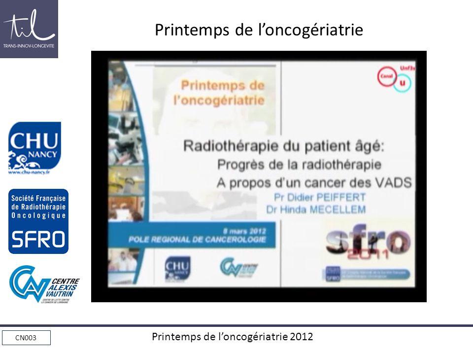 Printemps de l'oncogériatrie