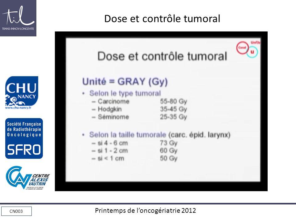 Dose et contrôle tumoral
