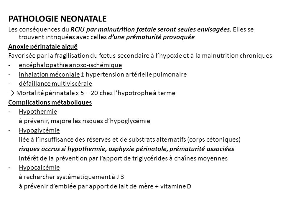 PATHOLOGIE NEONATALE