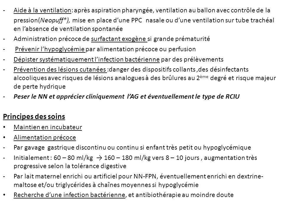 Aide à la ventilation: après aspiration pharyngée, ventilation au ballon avec contrôle de la