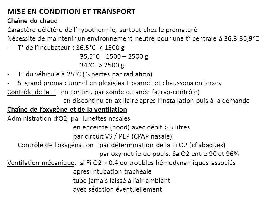 MISE EN CONDITION ET TRANSPORT