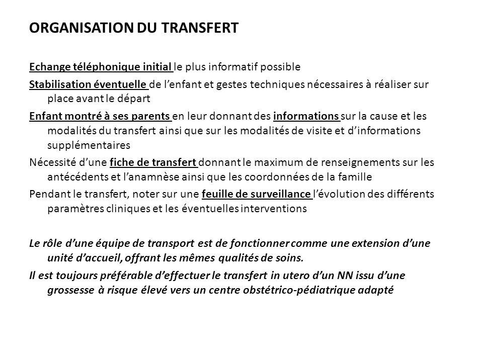 ORGANISATION DU TRANSFERT